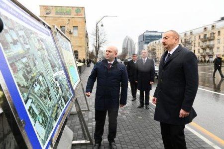 İlham Əliyev Şah İsmayıl Xətainin heykəlinin köçürüldüyü yeni salınmış parkda - FOTO