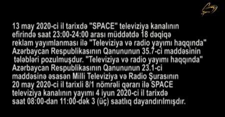 """""""Space"""" TV-nin yayımı dayandırılıb"""